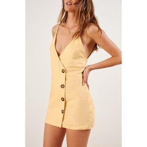 NWT Reformation Cayman Linen Button Wrap Dress